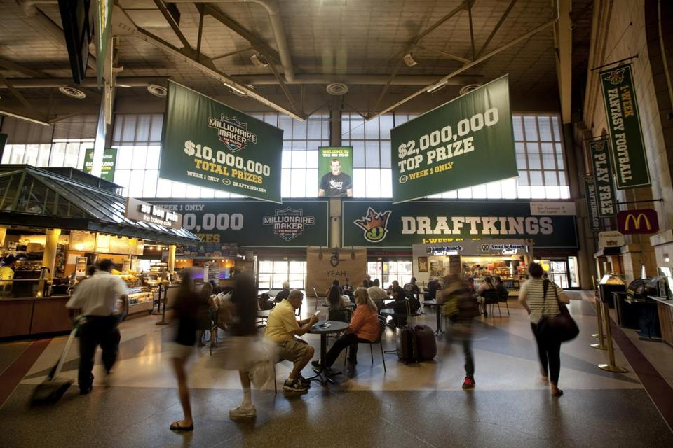 Advertisements for DraftKings adorned Boston's South Station in September.