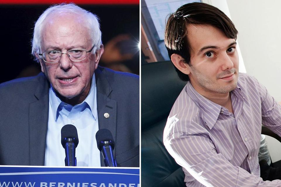 Martin Shkreli (right), the drug executive who raised ire with a 4,000 percent price hike, donated $2,700 to Bernie Sanders in a vain attempt to get a meeting on the issue.