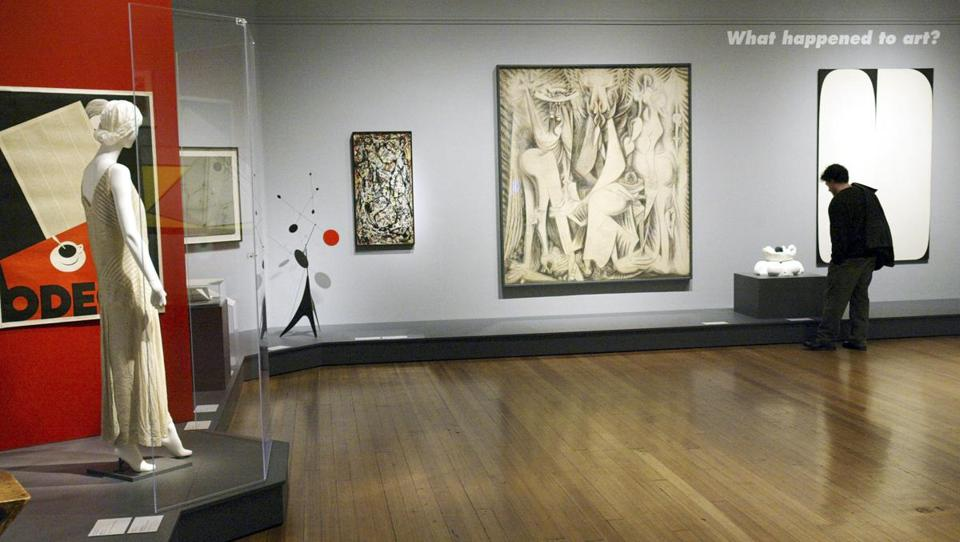 A RISD Museum show in 2006 included a painting by Jackson Pollock (center left). What happens to viewers' connection to such a work when it is placed in a modern museum?