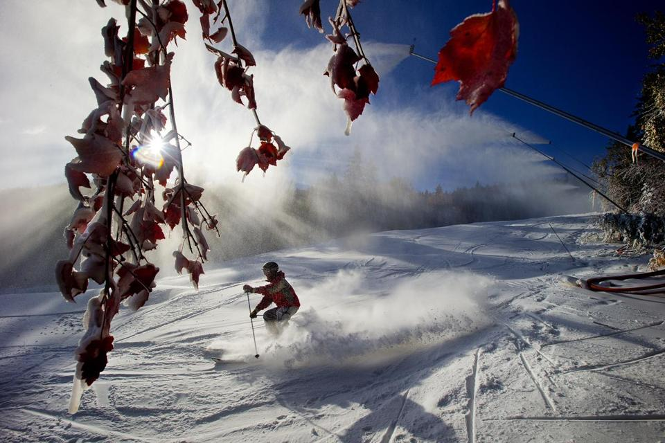 Snow guns blew full blast during Opening Day at the Sunday River ski resort.