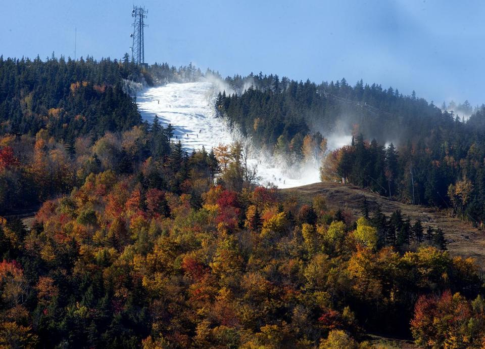 Newry, Maine--October 19,2015- Globe Staff Photo by Stan Grossfeld- Opening Day --Sunday River ski resort is open for the 2015-16 season amidst peak foliage.