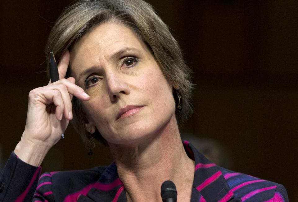 Deputy Attorney General Sally Quillian Yates listens while testifying on Capitol Hill in Washington, Monday, Oct. 19, 2015, before the Senate Judiciary Committee hearing on the Sentencing Reform and Corrections Act of 2015. (AP Photo/Carolyn Kaster)