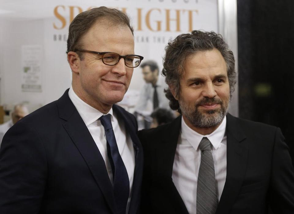 "Director and cowriter of ""Spotlight"" Tom McCarthy (left) and actor Mark Ruffalo."