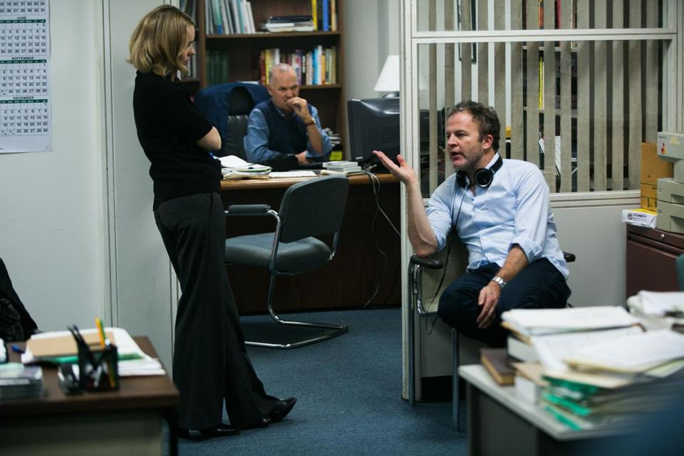 "From left: Rachel McAdams, Michael Keaton, and director Tom McCarthy on the ""Spotlight"" set."