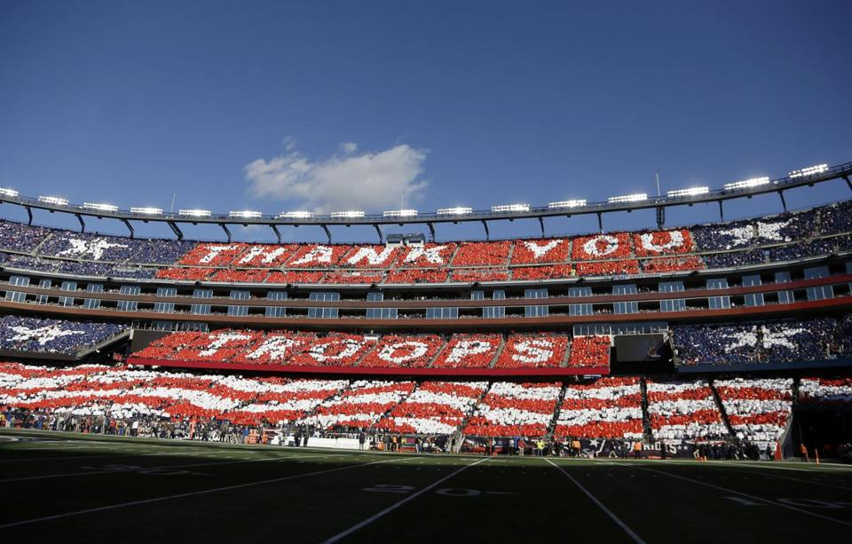 Patriots honor military with flying colors
