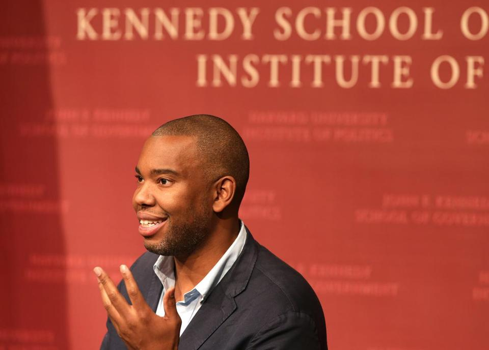"Cambridge, MA - 11/11/15 - FOR NAMES"" A Conversation with Ta-Nehisi Coates, National correspondent for The Atlantic, Author, The Beautiful Struggle and Between the World and Me, with moderator Bruce Western, Professor of Sociology, Harvard University, Director Malcolm Wiener Center for Social Policy, /harvard Kennedy School. - (Barry Chin/Globe Staff), Section: Lifestyle/Names, Reporter: William Herzog, Topic: 12nameskennedy, LOID: 8.2.343826417."