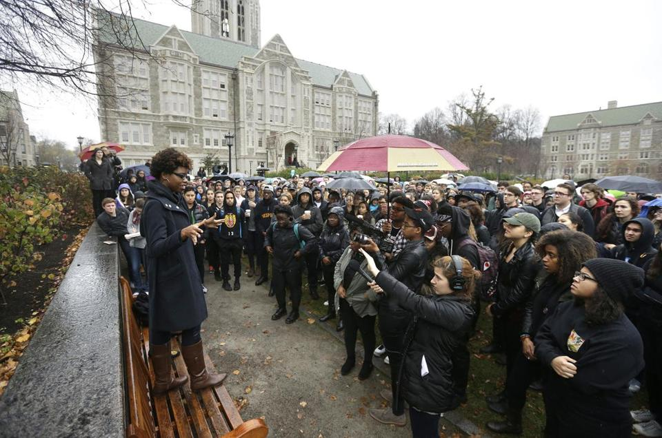 Students at Boston College gathered during a solidarity demonstration on the school's campus on Thursday.