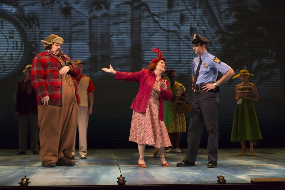 "From left: Nick Offerman, Anita Gillette, and Paul Melendy in ""A Confederacy of Dunces."""
