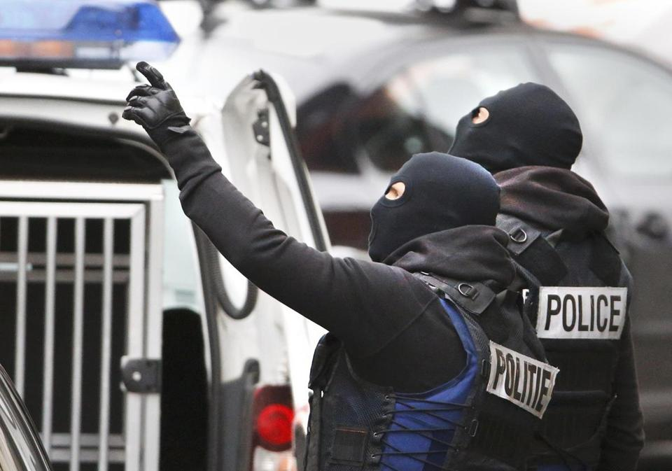 Belgian police staged a raid Monday in the Brussels neighborhood of Molenbeek.
