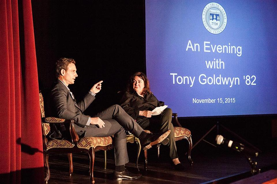Tony Goldwyn (left), with Alice Kelikian, chair of Brandeis University's Film, Television and Interactive Media program.