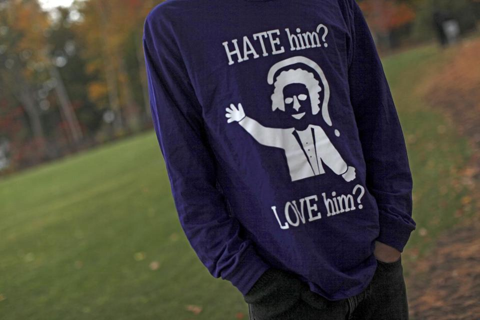 A student wore a shirt that references the controversy over Amherst College's Lord Jeff mascot.