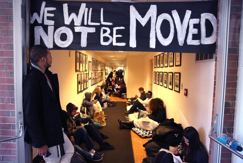 Students were in a hallway not far from the president's office at the Brandeis campus on Nov. 23.