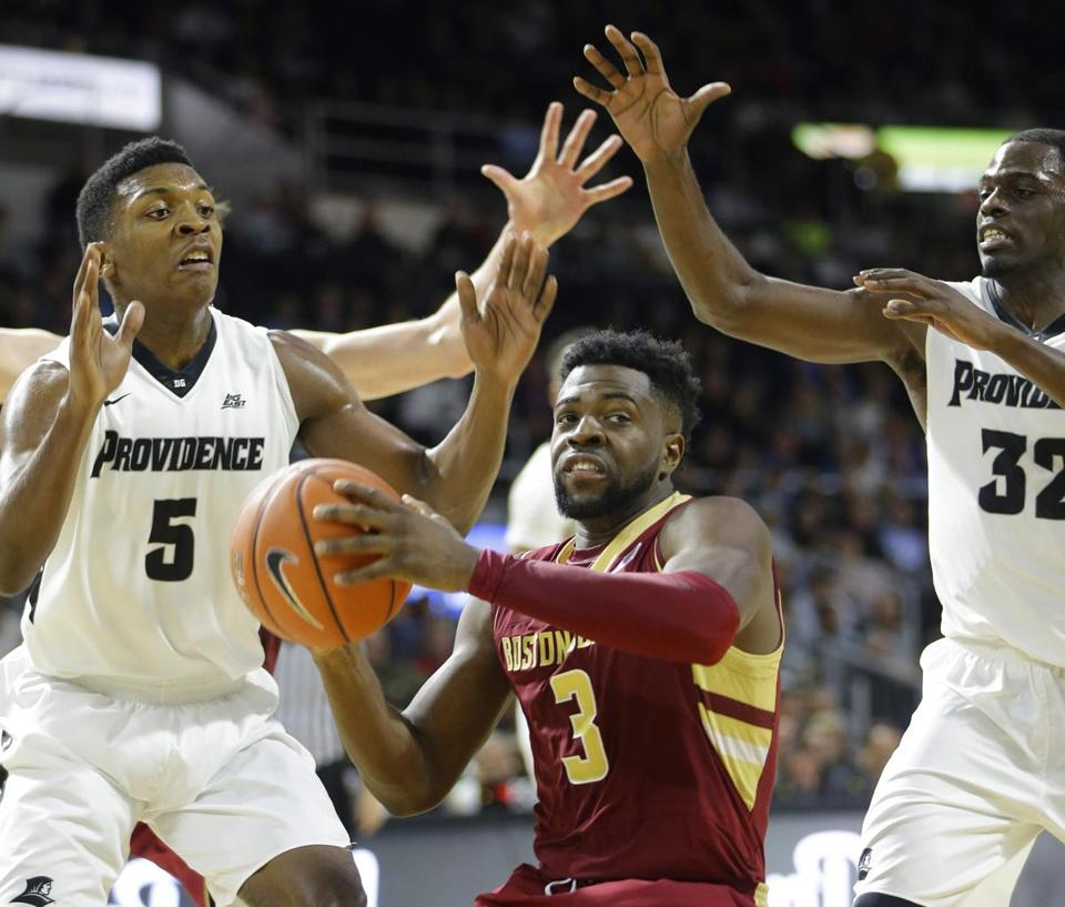 Providence's leading scorer, Rodney Bullock (5), is looking for another win over Boston College on Friday. Bullock scored 17 points in the Friars' 66-51 win over the Eagles last season.