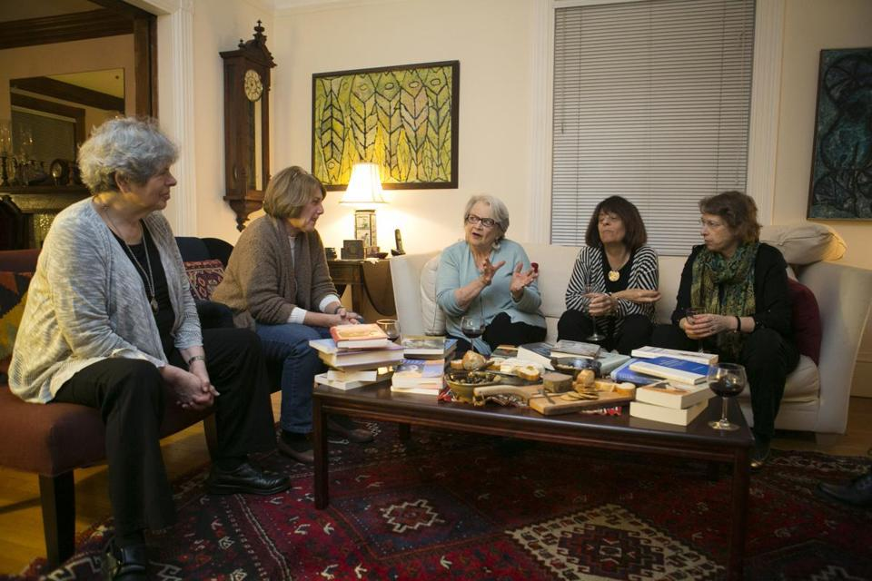 The women biographer's group during a recent meeting in Brookline. From left are Joyce Antler, Roberta Wollons, Susan Quinn, Fran Malino, and Megan Marshall. In total, the writers have published 33 books.