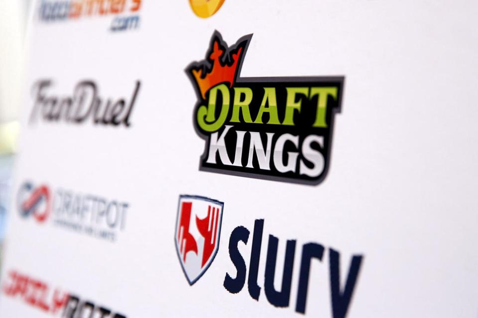 A DraftKings logo was displayed on a board inside of the DFS Players Conference in New York.