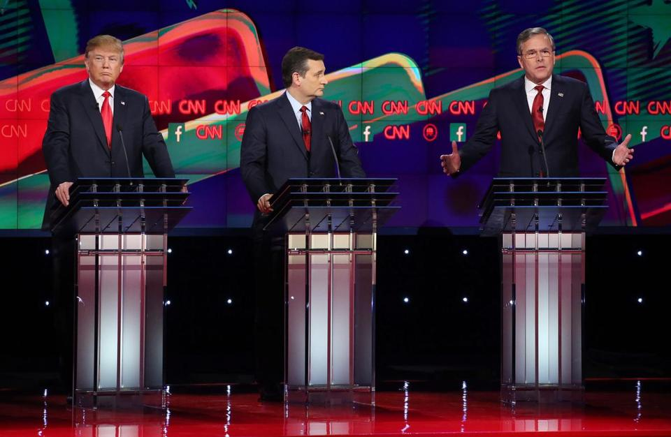 One of the main duels of the night featured Donald Trump (left) and former Florida Governor Jeb Bush (right).