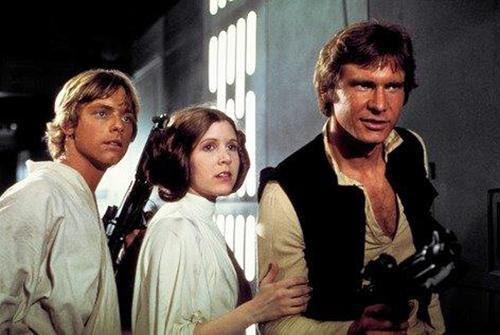 From left: Mark Hamill, Carrie Fisher, and Harrison Ford.
