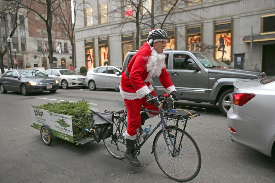 Jimmy Rider pedaled through Boston toward Copley Square with a Christmas tree in tow. Rider has delivered 200 trees this season.