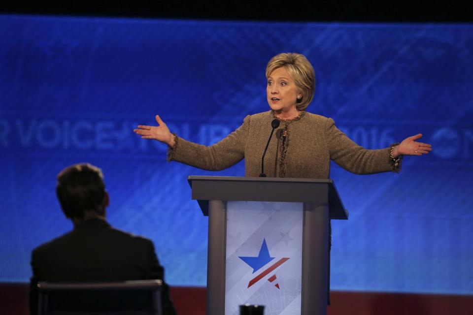 Hillary Clinton spoke during the Democratic presidential primary debate at St. Anselm College in Manchester, N.H.