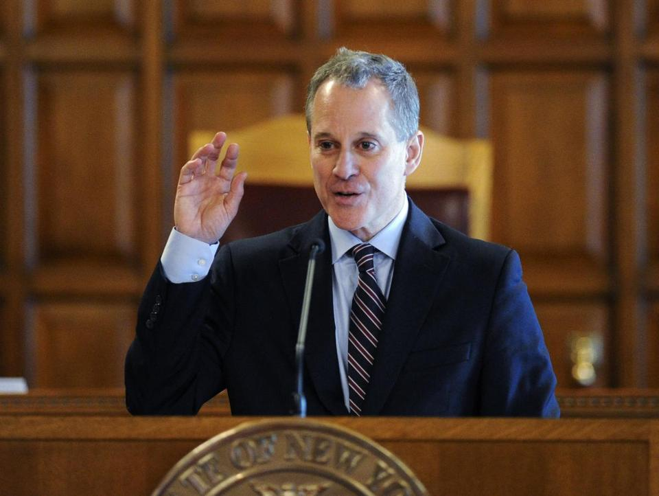 New York State Attorney Eric Schneiderman spoke during a Law Day event at the Court of Appeals in Albany, N.Y.