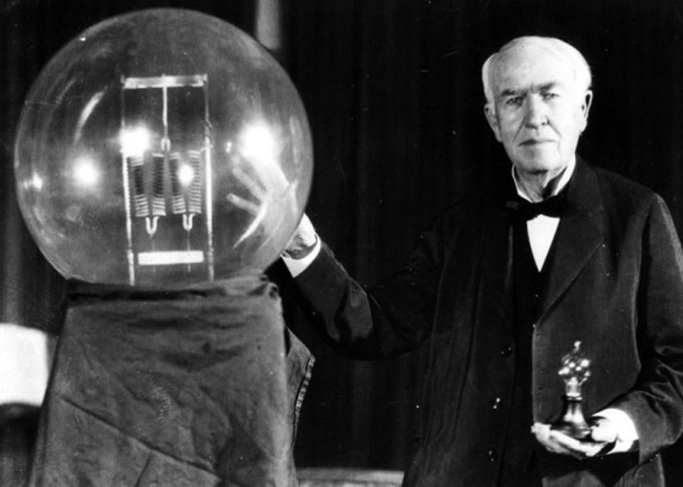 Thomas Edison with his famed light bulb.