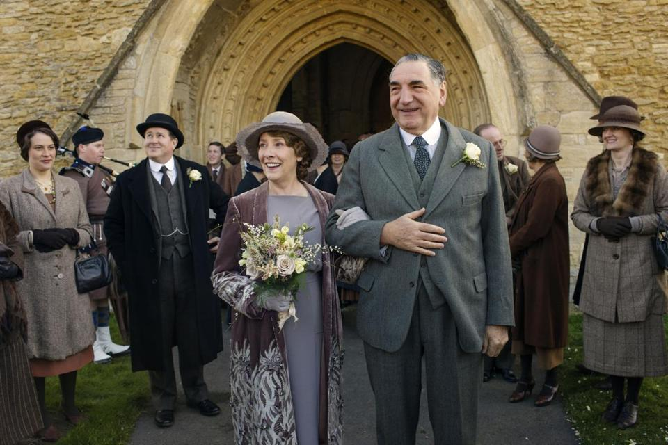 Downton Abbey Part Three - Sunday, January 17, 2016 at 9pm ET on MASTERPIECE on PBS A wedding dress drama takes a disastrous turn. The breakfast battle is settled. A handsome volunteer helps Edith meet a deadline. The hospital debate gets nasty. Shown from left to right: Phyllis Logan as Mrs. Hughes and Jim Carter as Mr. Carson (C) Nick Briggs/Carnival Film & Television Limited 2015 for MASTERPIECE This image may be used only in the direct promotion of MASTERPIECE CLASSIC. No other rights are granted. All rights are reserved. Editorial use only. USE ON THIRD PARTY SITES SUCH AS FACEBOOK AND TWITTER IS NOT ALLOWED. 17TicketTV