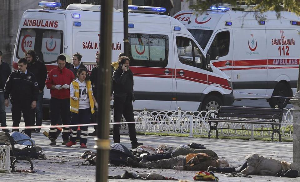 Rescue teams gathered at the scene following Tuesday's explosion in the Sultanahmet district of Istanbul.