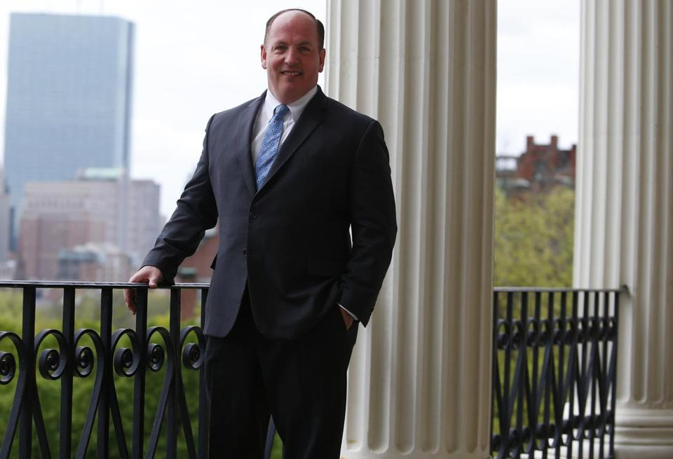 State Senator Brian A. Joyce posed for a portrait at the State House in Boston.