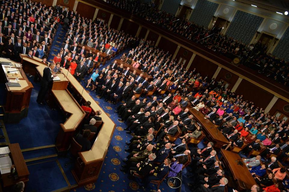 US President Barack Obama delivers the State of the Union at the US Capitol in Washington, DC, on January 12, 2016. Obama gives his final State of the Union address, perhaps the last opportunity of his presidency to sway a national audience and frame the 2016 election. AFP PHOTO/NICHOLAS KAMM / AFP / NICHOLAS KAMM (Photo credit should read NICHOLAS KAMM/AFP/Getty Images)