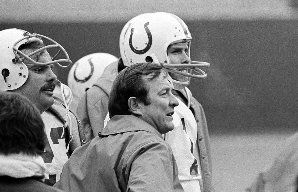Ted Marchibroda, shown with Colts quarterback Bert Jones in 1975,  went 87-98-1 in his career, including 2-4 in the playoffs.