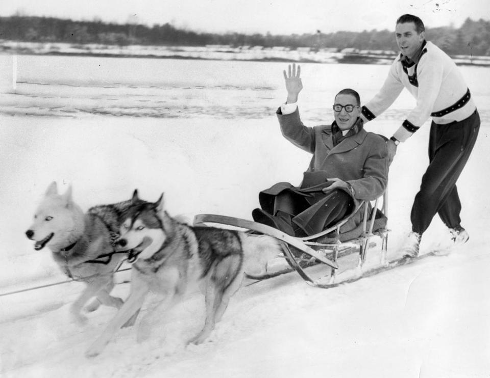A dapper US Senator Estes Kefauver took a dog sled ride in Laconia in 1952, a few days before he defeated Harry Truman.