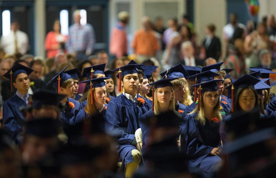 Students at the Newton South High School graduation in 2014.