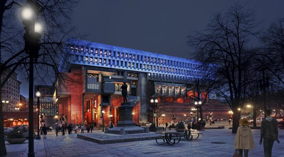 "A rendering of Boston City Hall with ""Patriots"" colors from Faneuil Hall."