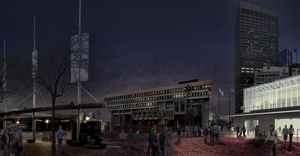 A rendering of the view from Boston City Hall Plaza without lights.