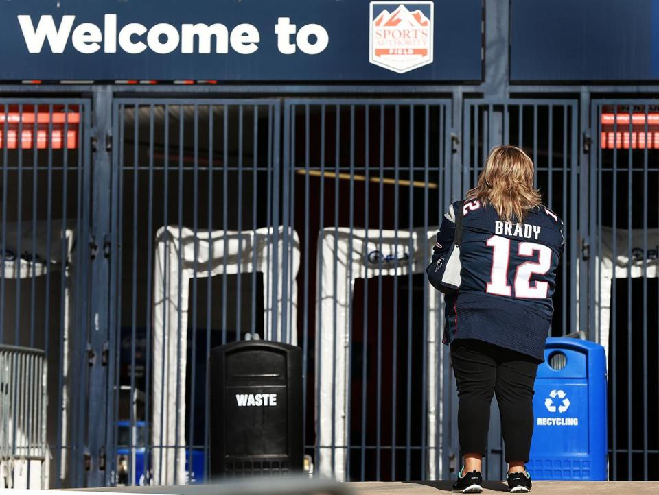 A fan checked out the scene outside of Sports Authority Field.