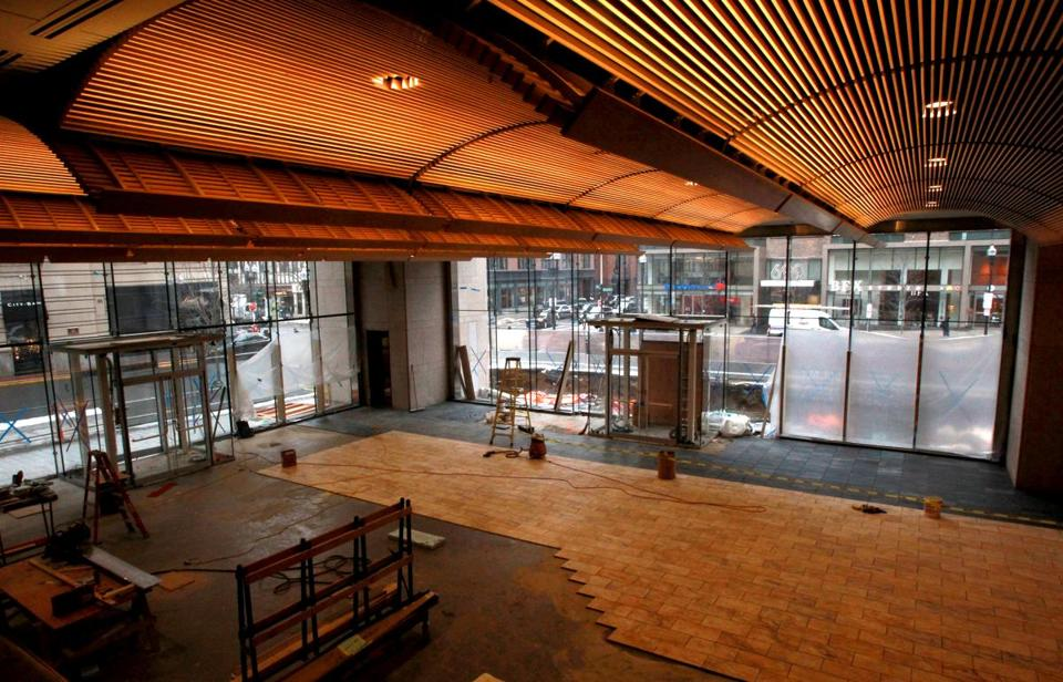 Library renovations in progress, as seen in January, of an area that will become retail space at the Boston Public Library.