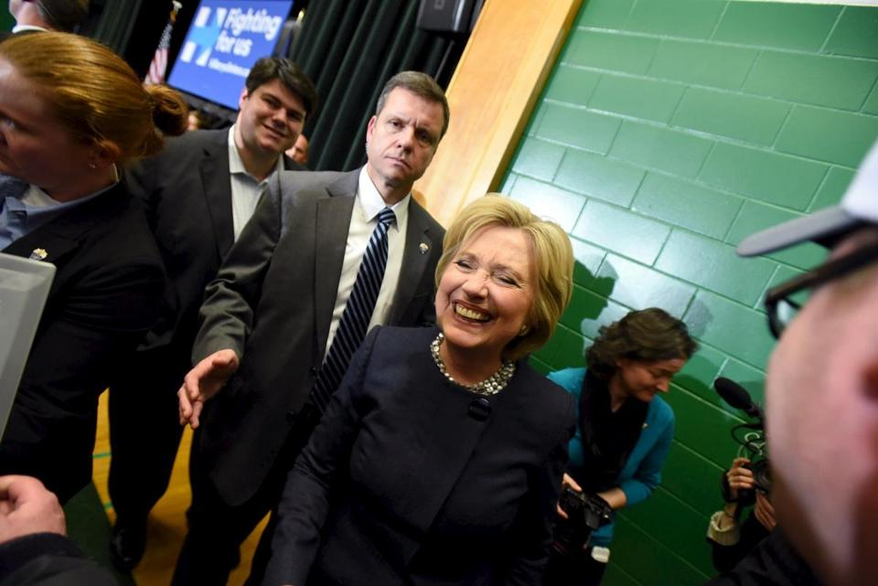Hillary Clinton met with supporters at a town hall-style meeting in Manchester, N.H., on Jan. 22. Recent polls show nearly half of Bernie Sanders' supporters in the Granite State are cold toward Clinton.