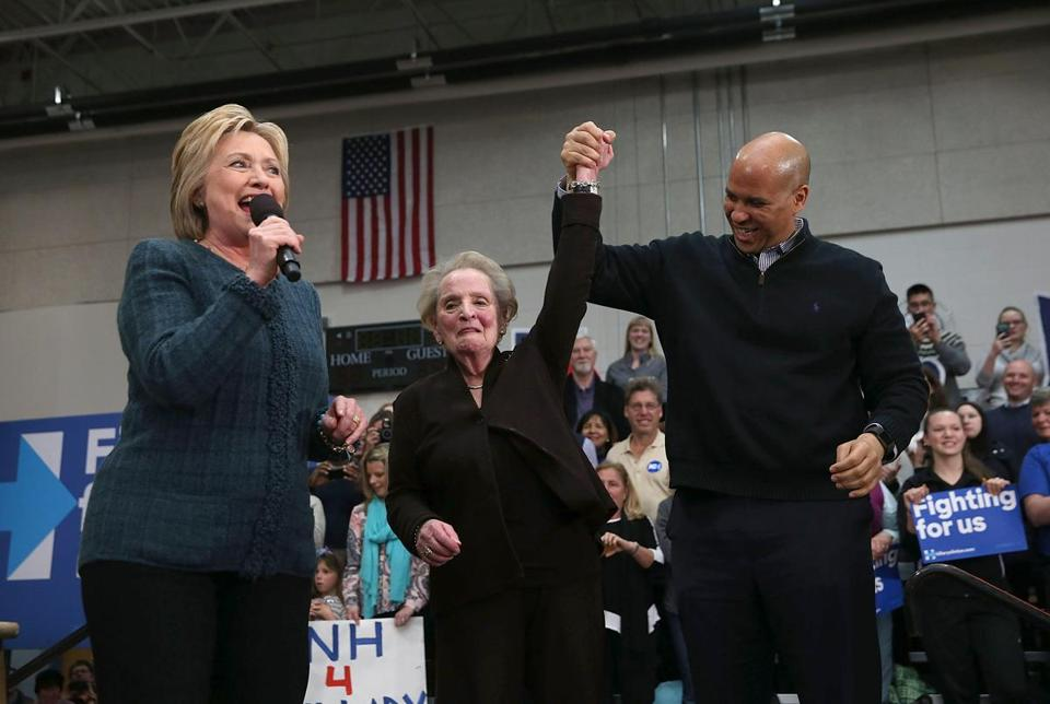 From left: Hillary Clinton, former Secretary of State Madeleine Albright, and US Senator Cory Booker of New Jersey participated in a get-out-the-vote organizing event Saturday in Concord, N.H.