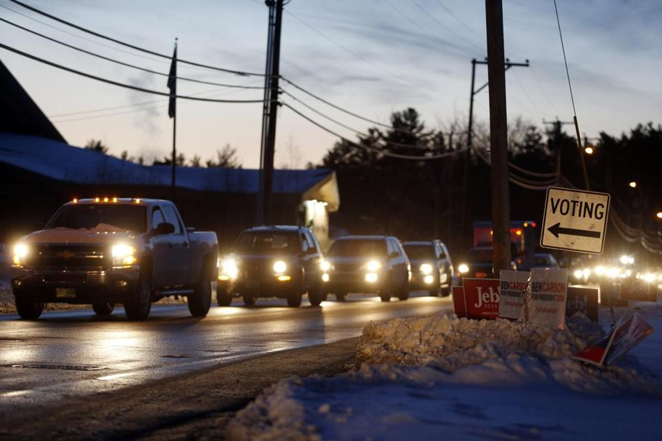 Voters waited in a miles-long line of traffic to vote in the N.H. primary in Merrimack.
