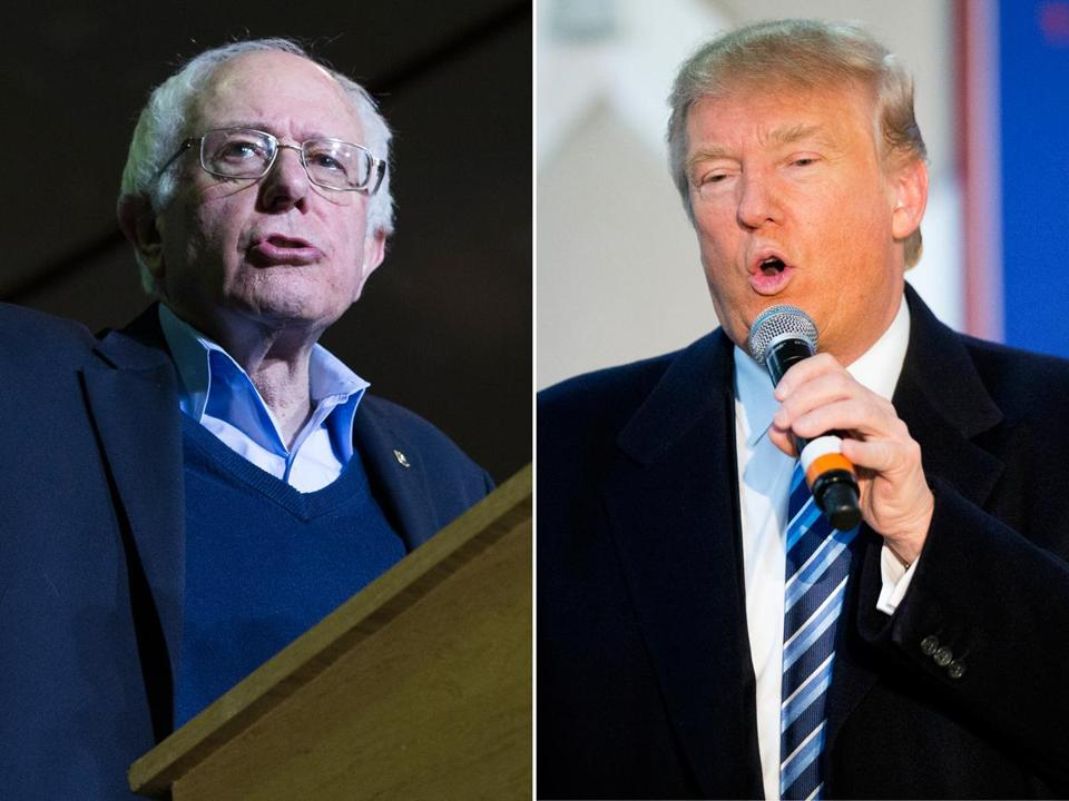 Democrat Bernie Sanders (left) and Republican Donald Trump spoke Monday during campaign appearances in New Hampshire.