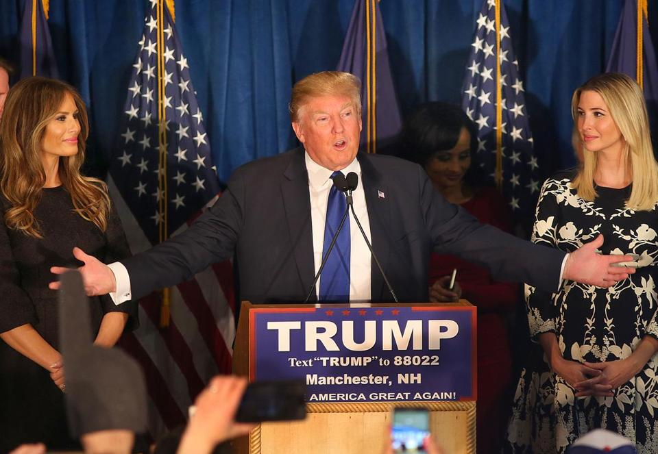 Donald Trump spoke to supporters in New Hampshire on Tuesday night.