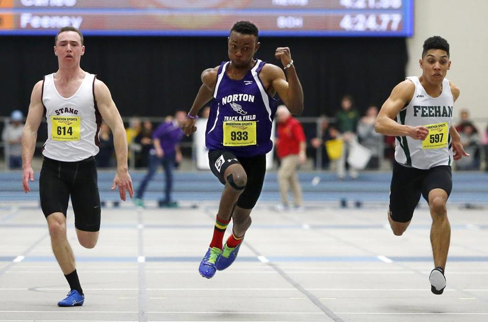 Norton's Abu Ceesay (center) beat Bishop Stang's Garrett Morris (left) and Bishop Feehan's Anthony Delasanta in the 55 meter dash at All-State.
