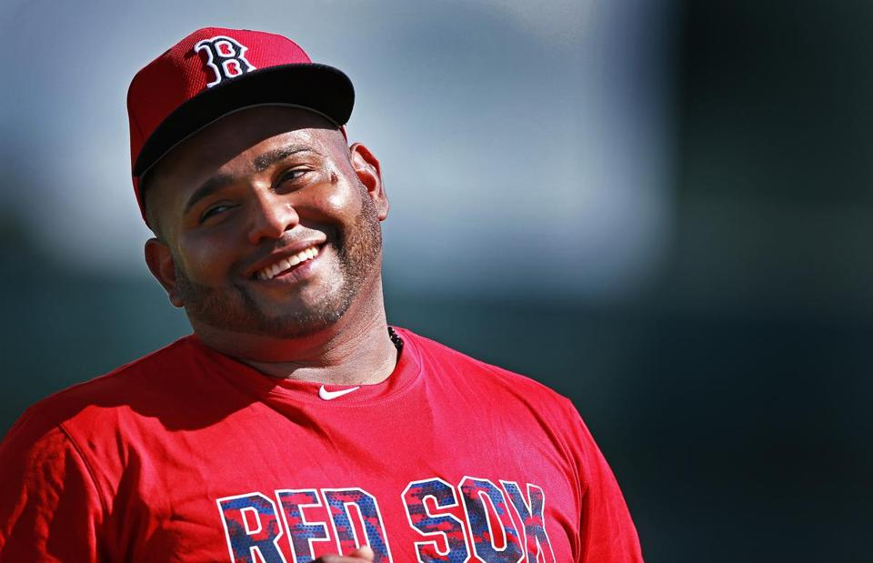 Sandoval appeared to be happy to be at spring training.