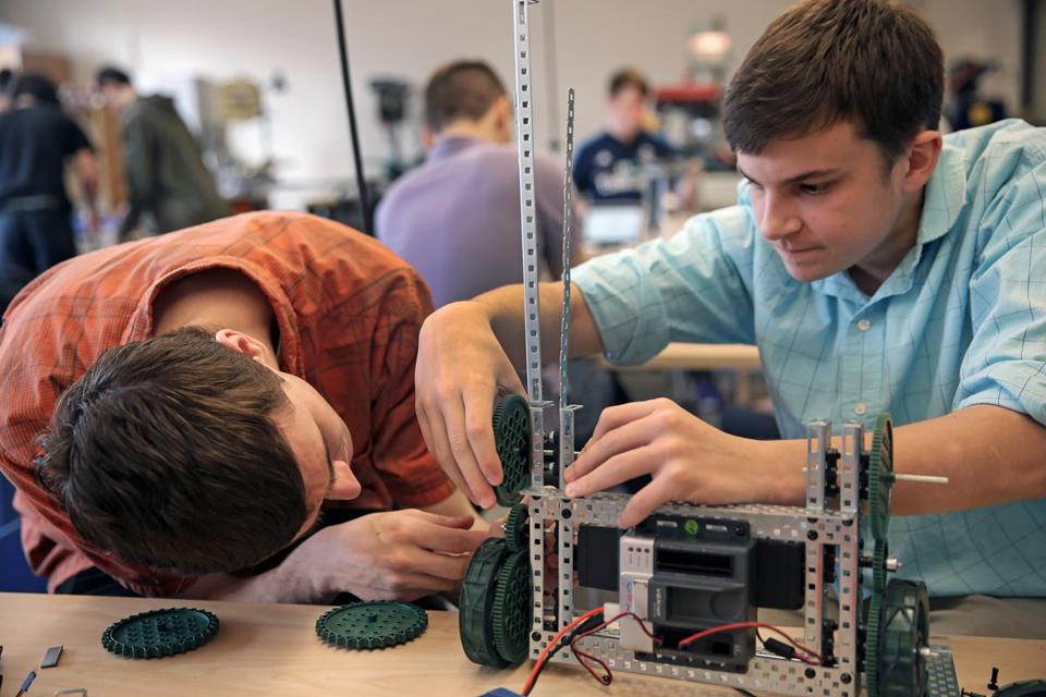 Students Brad Bedarian (left) and Ross Carboni worked on a robotics project at the modern Franklin High School (DAVID L RYAN/GLOBE STAFF)