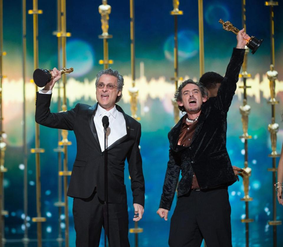 Mark Mangini (left) and David White onstage after winning the Oscar for Sound Editing for 'Mad Max: Fury Road' at the Oscars on Sunday night.