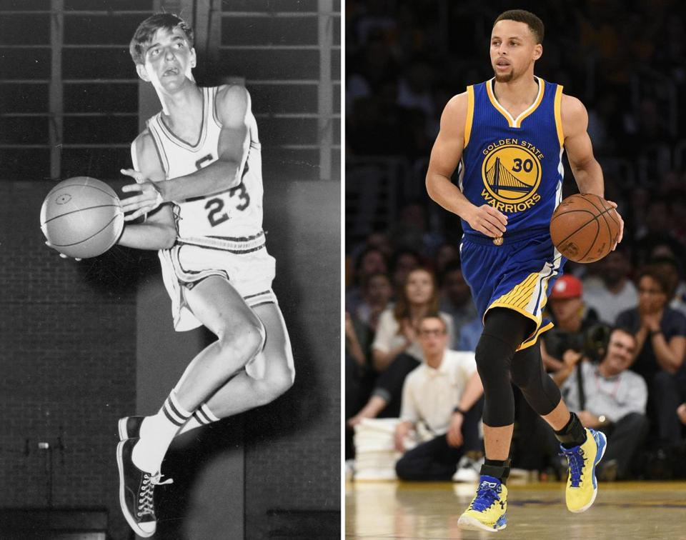 Pete Maravich (left) and Stephen Curry.