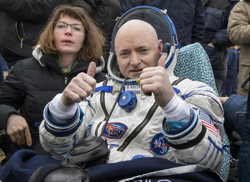 Scott Kelly, pictured here after he landed on Earth, spent a U.S.-record 340 days in orbit on the International Space Station.