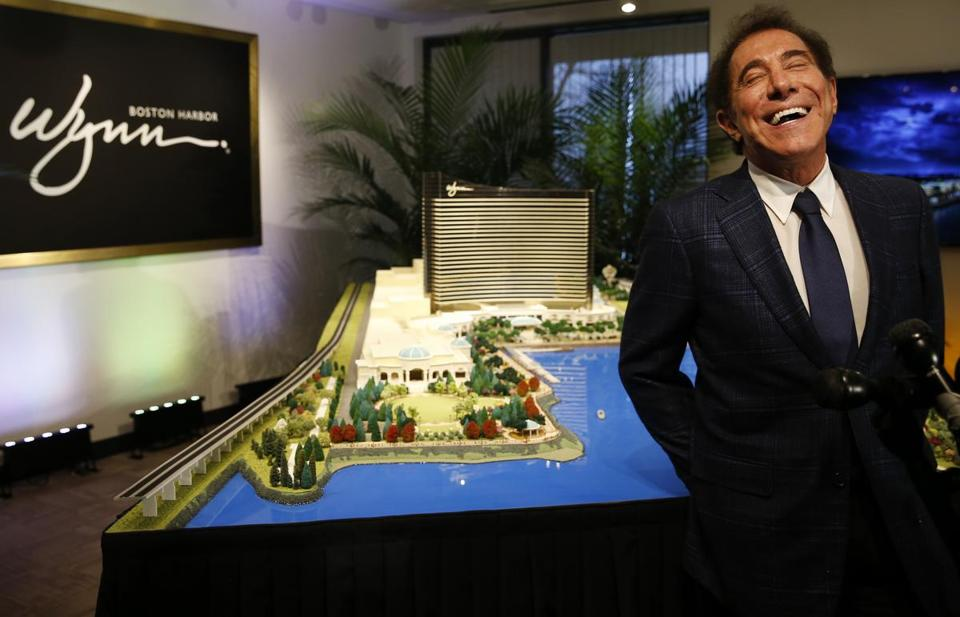 Medford, MA - 3/15/2016 - Steve Wynn laughed after learning that his people had not invited Somerville Mayor Joseph Curtatone to a meeting of local mayors to view the plans for the proposed Everett casino after a reporter asked him if Curtatone was in attendance during a press conference in Medford, MA March 15, 2016. Jessica Rinaldi/Globe Staff Topic: 16wynn Reporter: