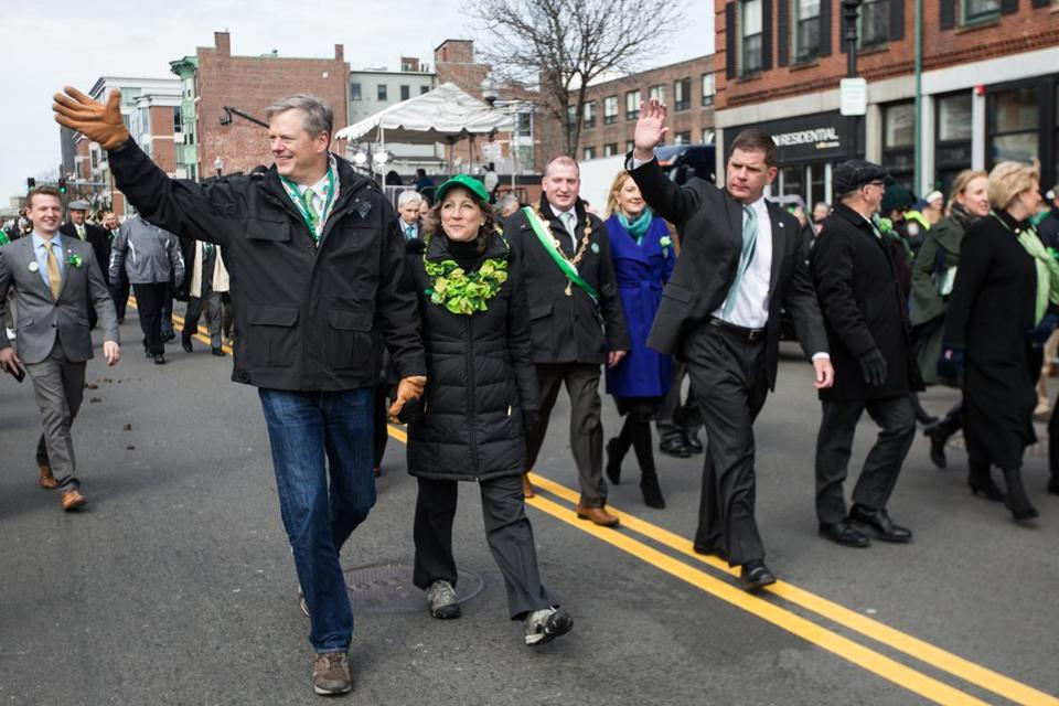 Boston, MA - 3/20/2016 - Boston Mayor Marty Walsh and Massachusetts governor Charlie Baker march in the St. Patrick's Day Parade in Boston, MA, March 20, 2016. (Keith Bedford/Globe Staff)