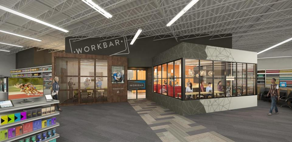 Staples and Workbar announce a new collaboration to offer shared work spaces within select Staples retail locations. The first three custom-designed Workbar spaces at Staples will be opening in Danvers, Norwood and Brighton in late spring, and will offer a mix of high-end workspaces, conference rooms, private phone rooms and more. Shown, an artist rendering of the Brighton location.